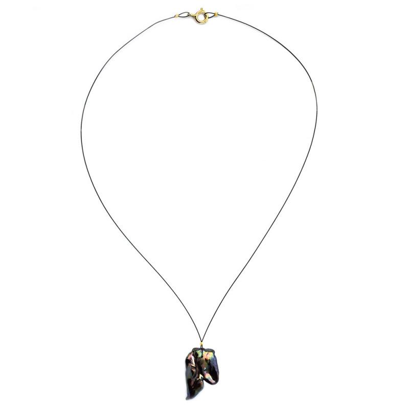 Κολιέ με μαύρο μαργαριτάρι και ασημένιο κούμπωμα 925 - M123604