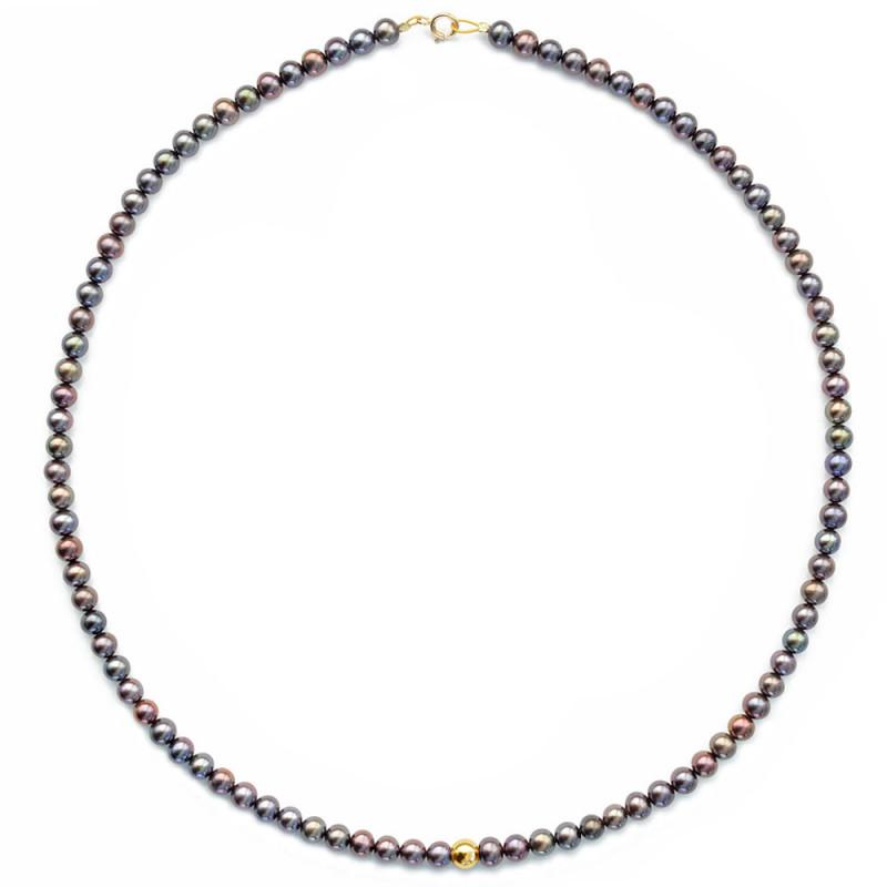 Κολιέ με μαύρα μαργαριτάρια και χρυσά στοιχεία K14 - M123673