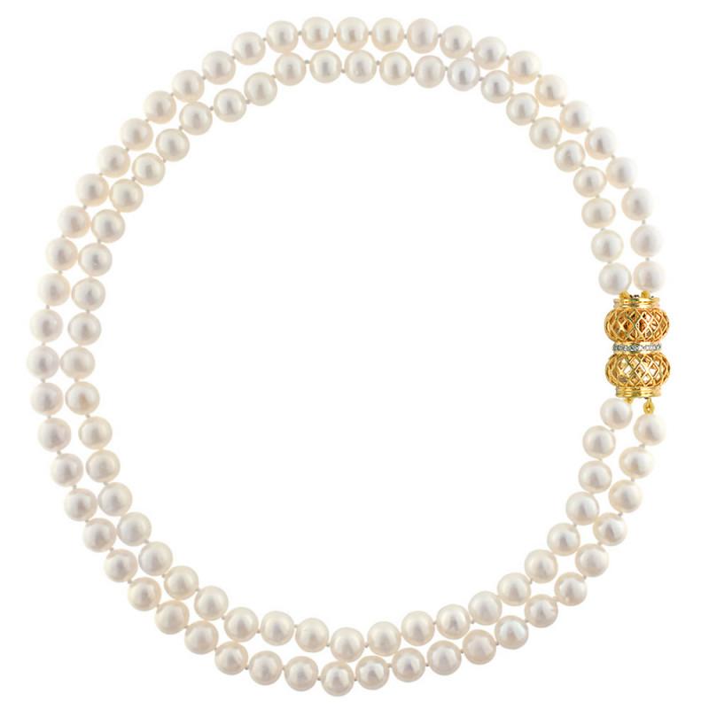 Κολιέ με μαργαριτάρια και χρυσό κούμπωμα Κ18 με διαμάντια - M123774
