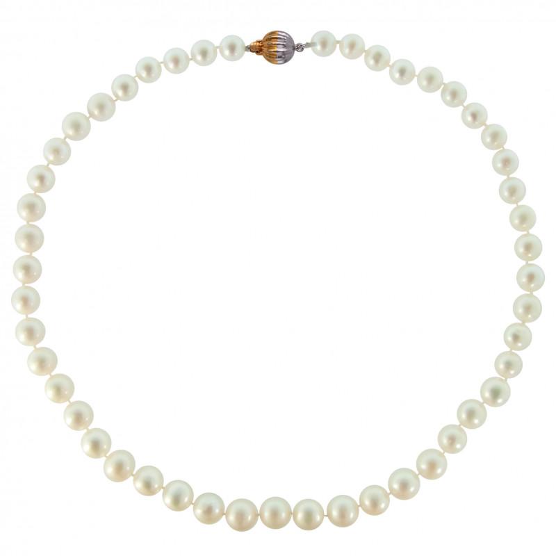 Κολιέ με λευκά μαργαριτάρια και κούμπωμα Κ18 - M123788