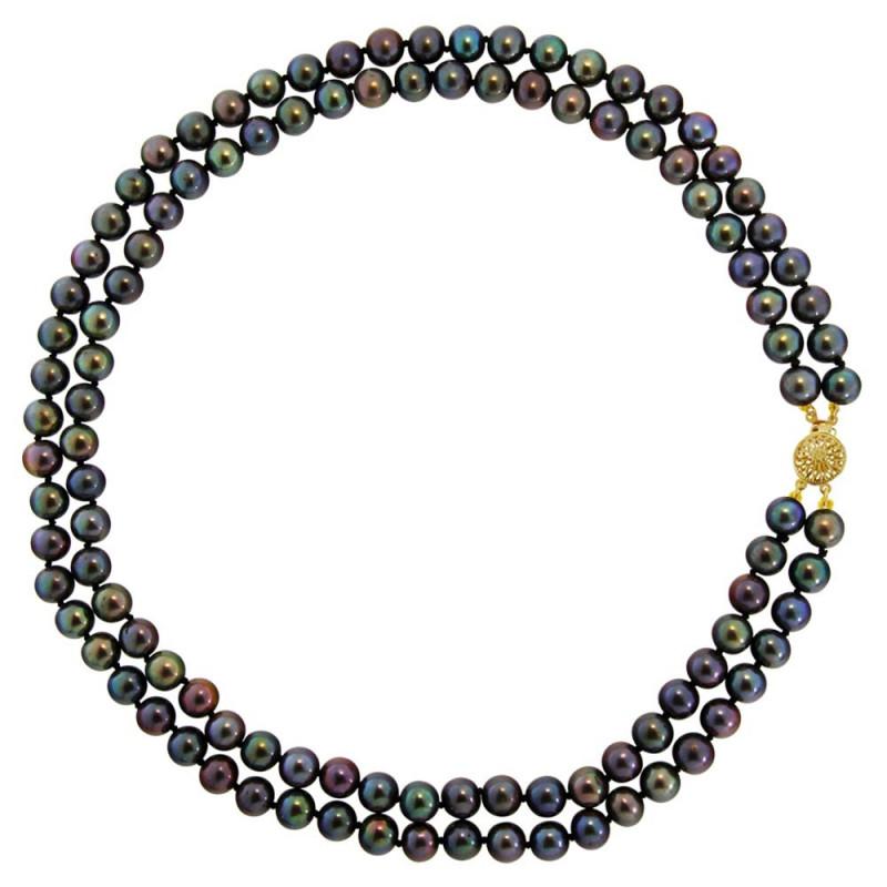 Κολιέ με μαύρα μαργαριτάρια και χρυσό κούμπωμα 14K - M123846