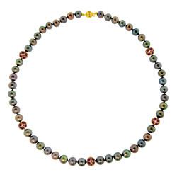 Κολιέ με μαύρα μαργαριτάρια και Ρουμπίνια χρυσό Κ18 - M123868