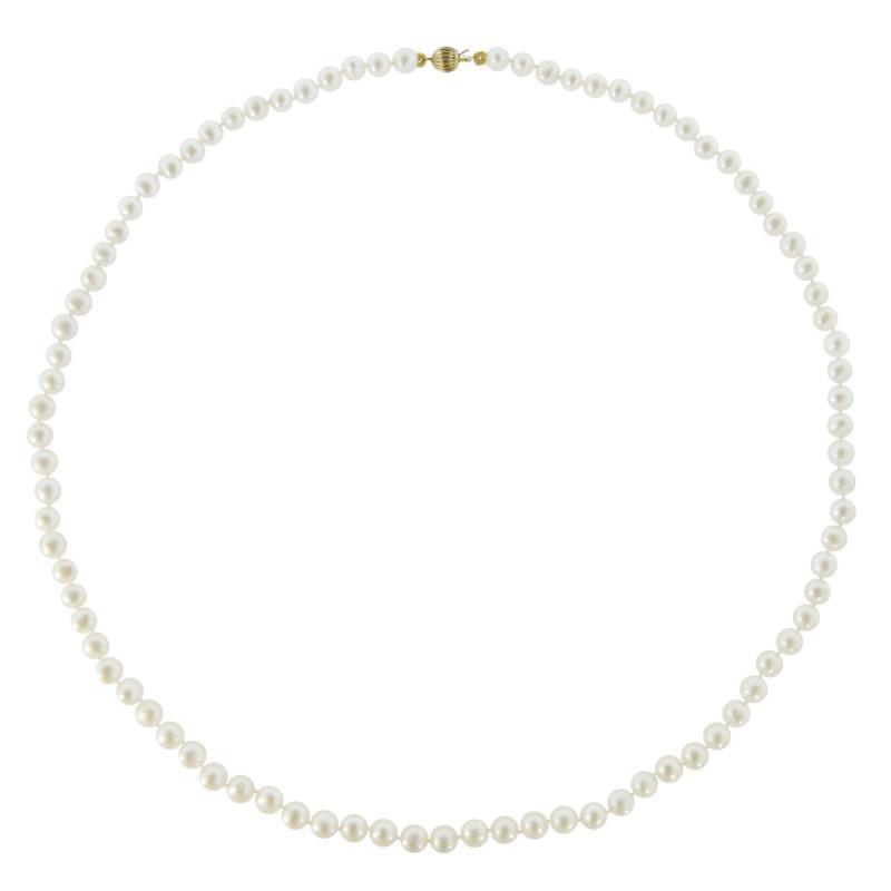 Κολιέ με λευκά μαργαριτάρια και χρυσό κούμπωμα K14 - M218004RB