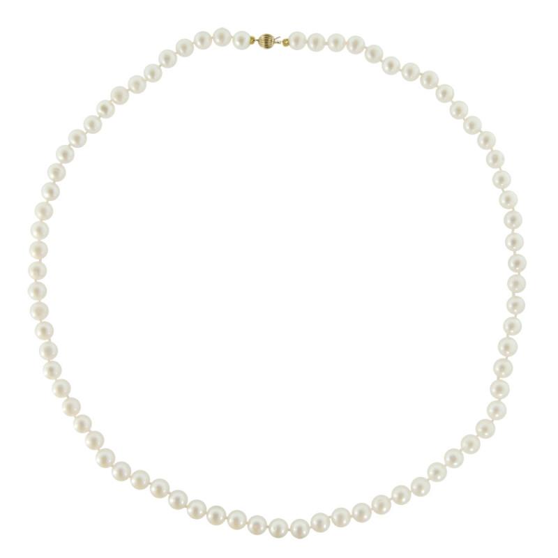 Κολιέ με λευκά μαργαριτάρια και χρυσό κούμπωμα K14 - M219021RB
