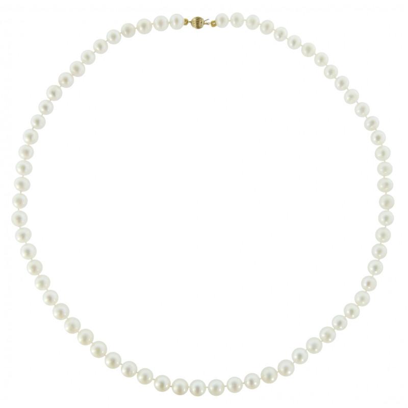 Κολιέ με λευκά μαργαριτάρια και χρυσό κούμπωμα Κ14 - M219022
