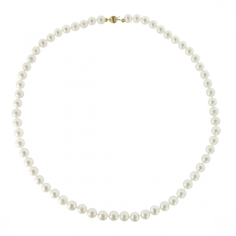 Κολιέ με λευκά μαργαριτάρια και χρυσό κούμπωμα 14K - M219023