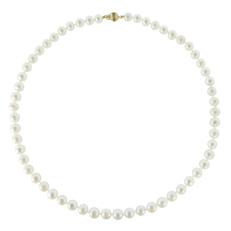 Κολιέ με λευκά μαργαριτάρια και χρυσό κούμπωμα Κ14 - M219024