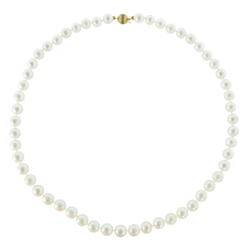 Κολιέ με λευκά μαργαριτάρια και χρυσό κούμπωμα 14K - M219025