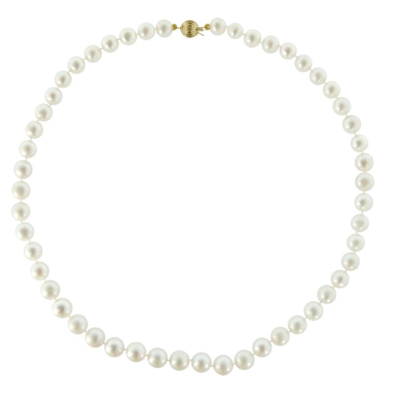 Κολιέ με λευκά μαργαριτάρια και χρυσό κούμπωμα 14K - M219059