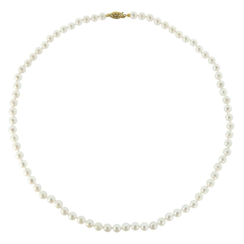 Κολιέ με λευκά μαργαριτάρια και χρυσό κούμπωμα K14 - M219224