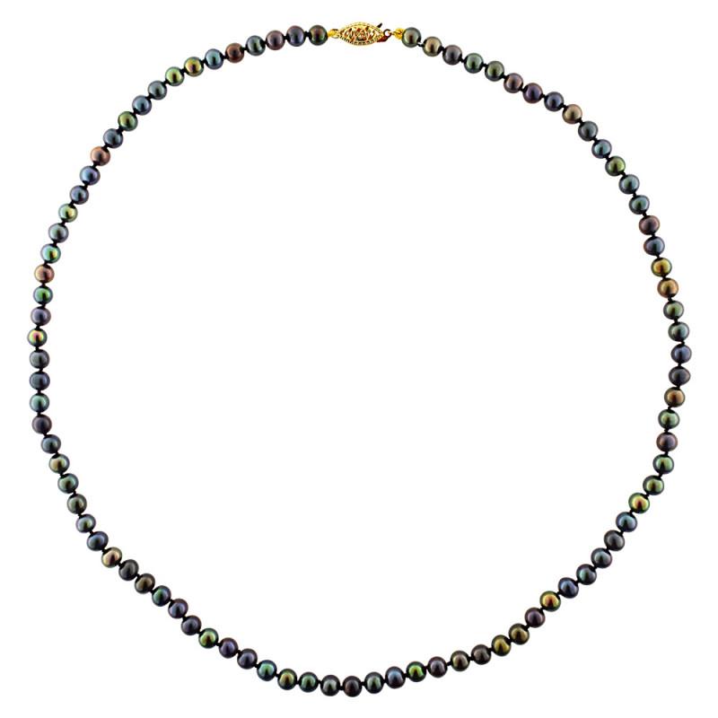 Κολιέ με μαύρα μαργαριτάρια και χρυσό κούμπωμα K14 - M219224B