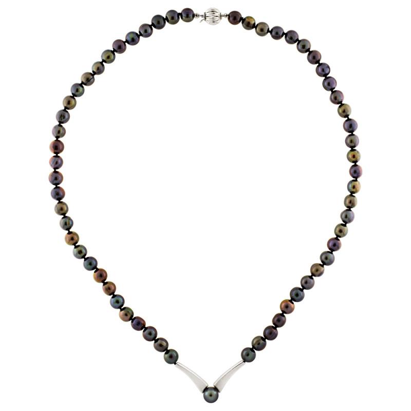 Κολιέ με μαύρα μαργαριτάρια και λευκόχρυσα στοιχεία K18 - M301086