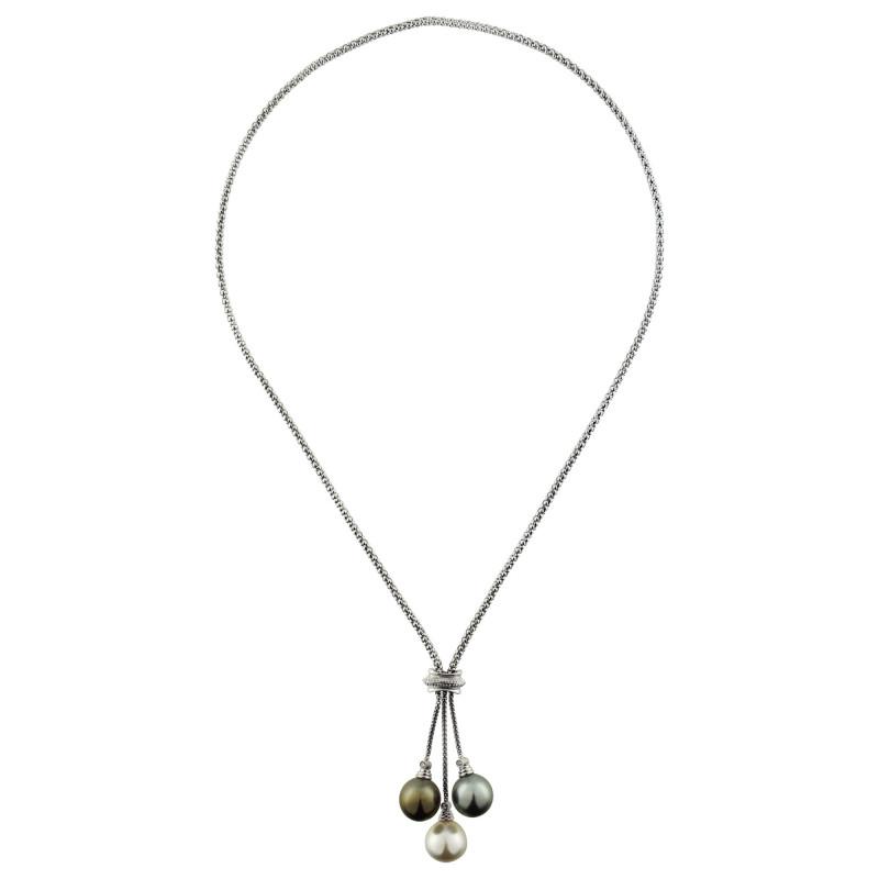 Κολιέ με μαργαριτάρια South Sea σε λευκόχρυσο Κ18 - M303377