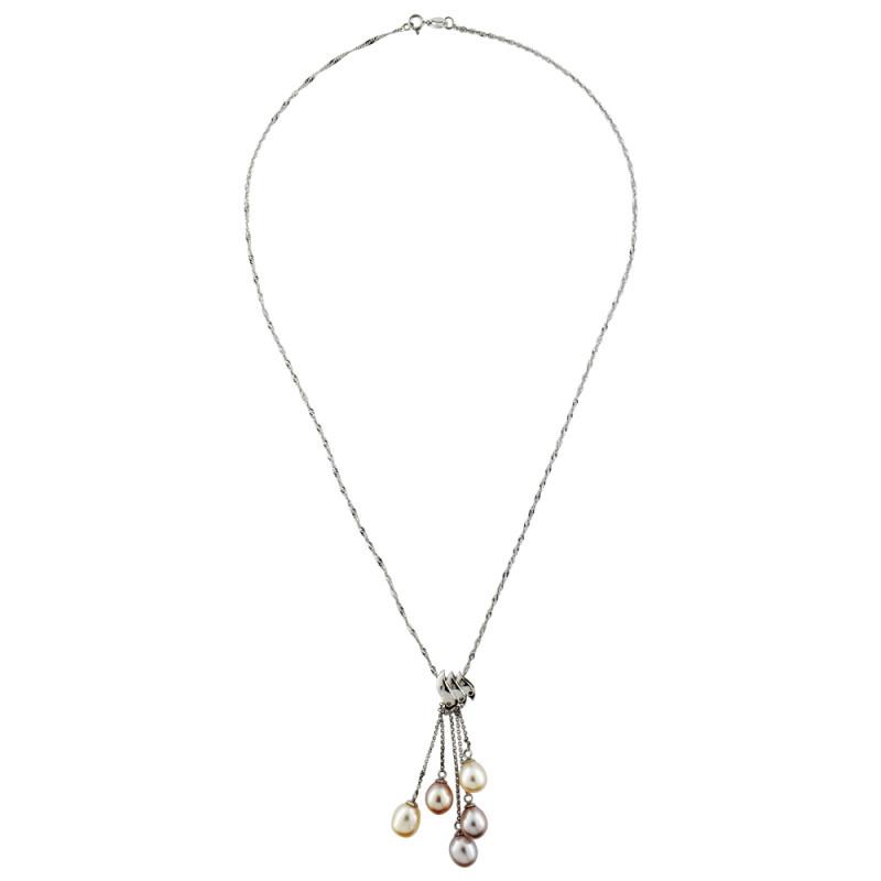 Κολιέ με μαργαριτάρια σε λευκόχρυση αλυσίδα Κ18 με διαμάντια - M310062