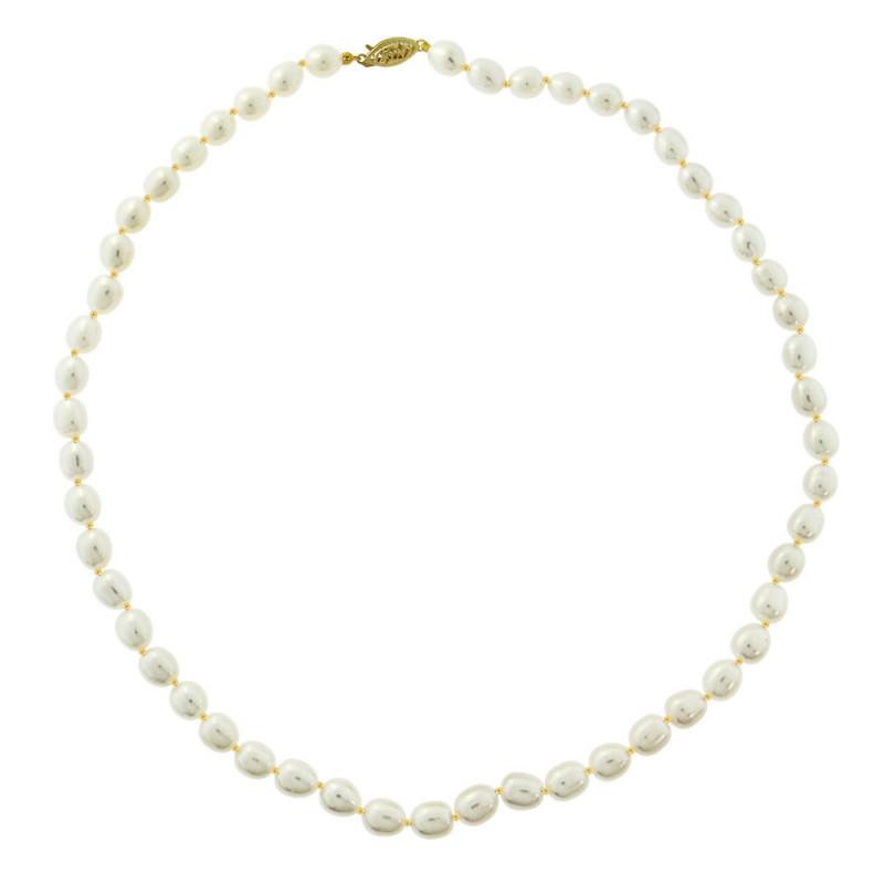 Κολιέ με λευκά μαργαριτάρια και χρυσό κούμπωμα Κ14 - M316913