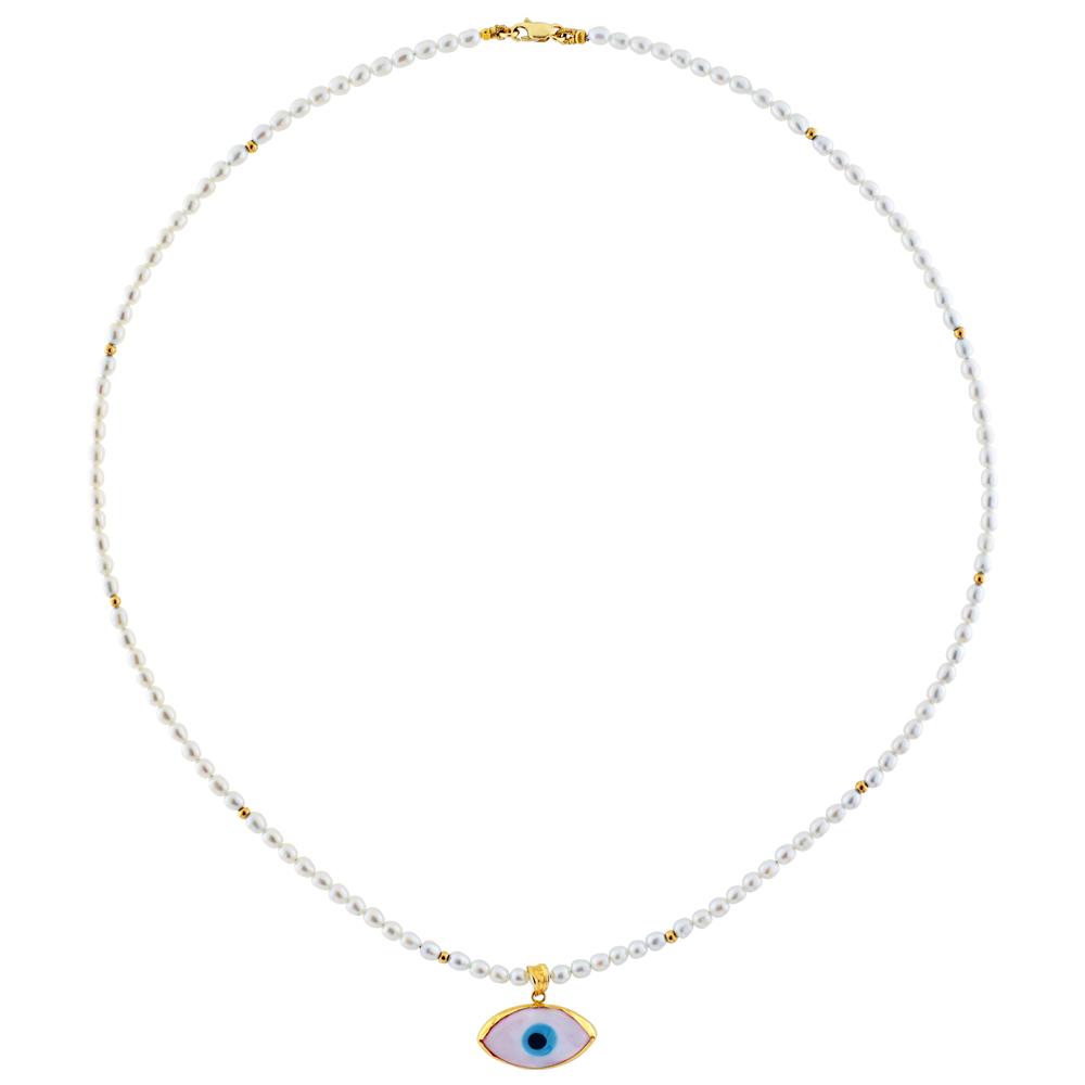 Κολιέ με λευκά μαργαριτάρια και χρυσά στοιχεία Κ14 - M317100 d0788df3041