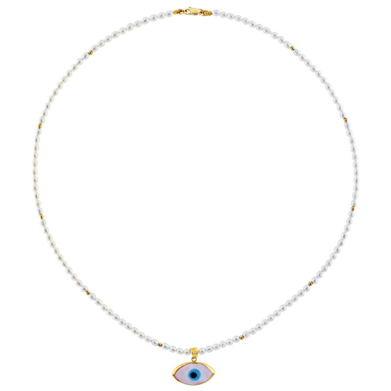 Κολιέ με λευκά μαργαριτάρια και χρυσά στοιχεία Κ14 - M317100