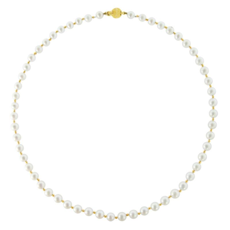 Κολιέ με λευκά μαργαριτάρια και χρυσά στοιχεία 14K - M317228