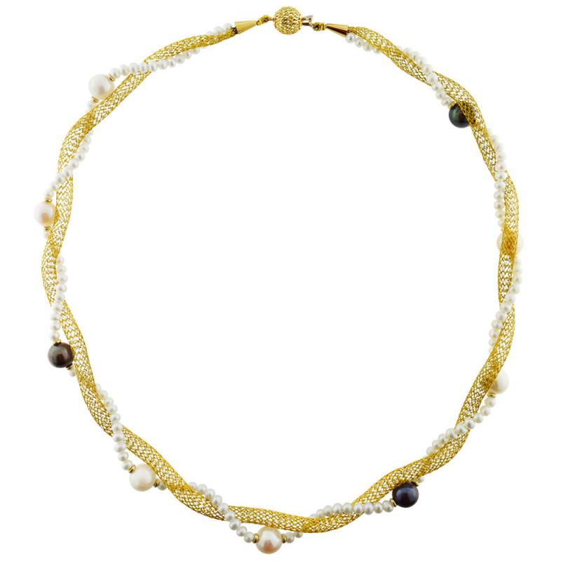 Κολιέ με λευκά μαργαριτάρια και χρυσά στοιχεία K18 - M317851
