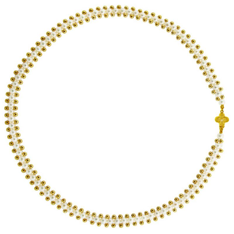 Κολιέ με λευκά μαργαριτάρια και χρυσά στοιχεία Κ18 - M318043
