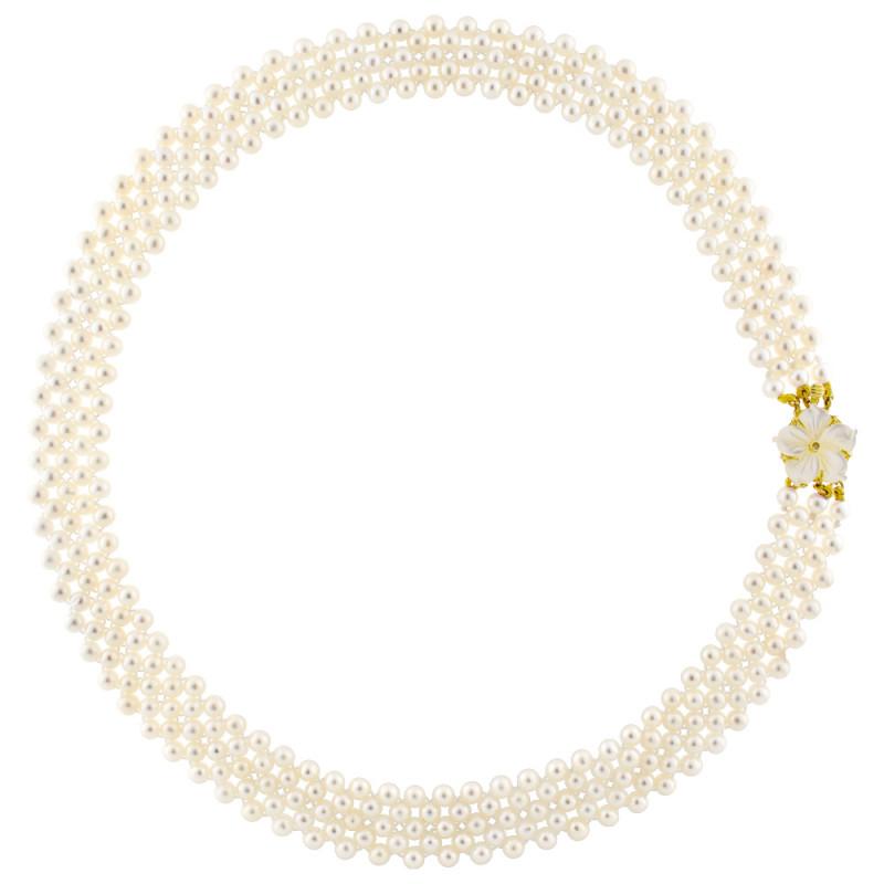 Κολιέ με λευκά μαργαριτάρια και χρυσό κούμπωμα Κ18 - M318047