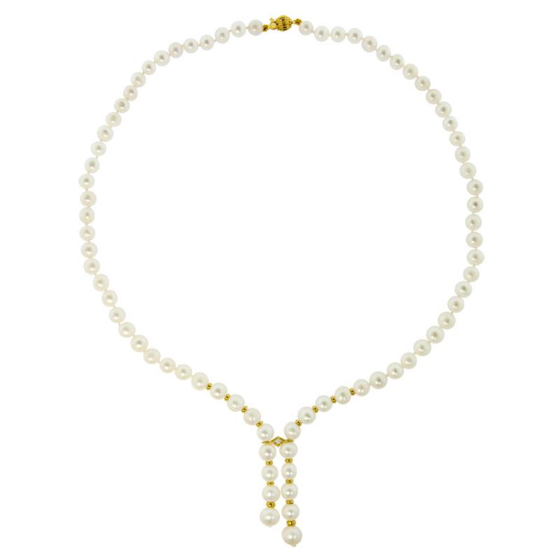 Κολιέ με λευκά μαργαριτάρια, διαμάντι και χρυσά στοιχεία Κ14 και Κ18 - M318853