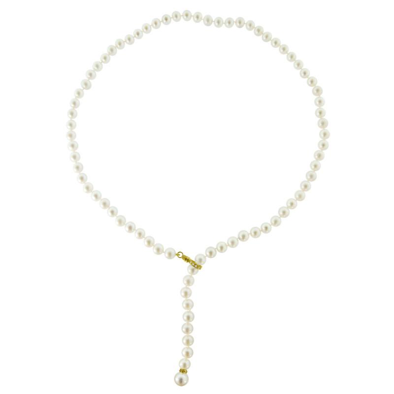 Κολιέ με λευκά μαργαριτάρια, διαμάντια και χρυσά στοιχεία 18K - M318873