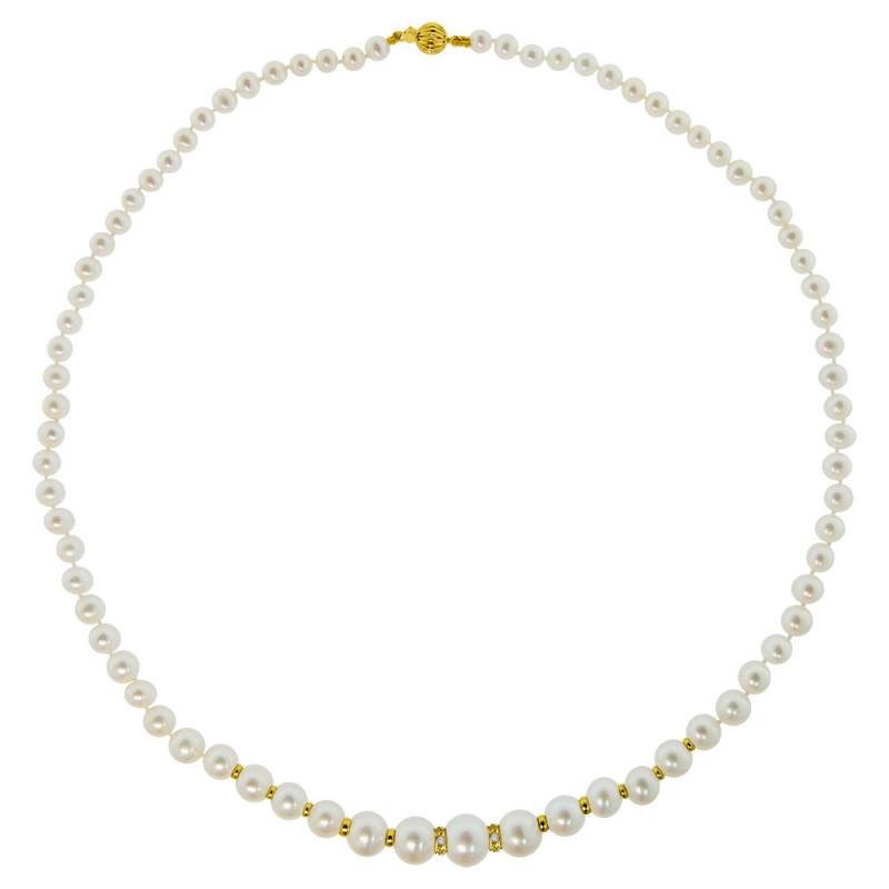 Κολιέ με λευκά μαργαριτάρια, διαμάντια και χρυσά στοιχεία 18K - M319182