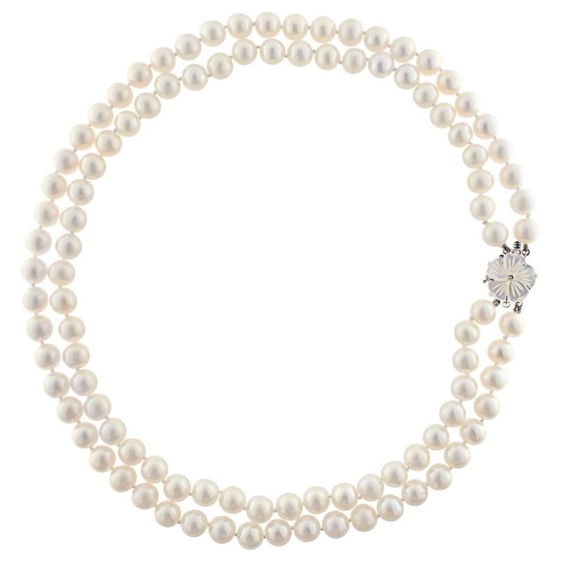 Κολιέ με μαργαριτάρια και λευκόχρυσο κούμπωμα Κ18 με διαμάντι - M319440