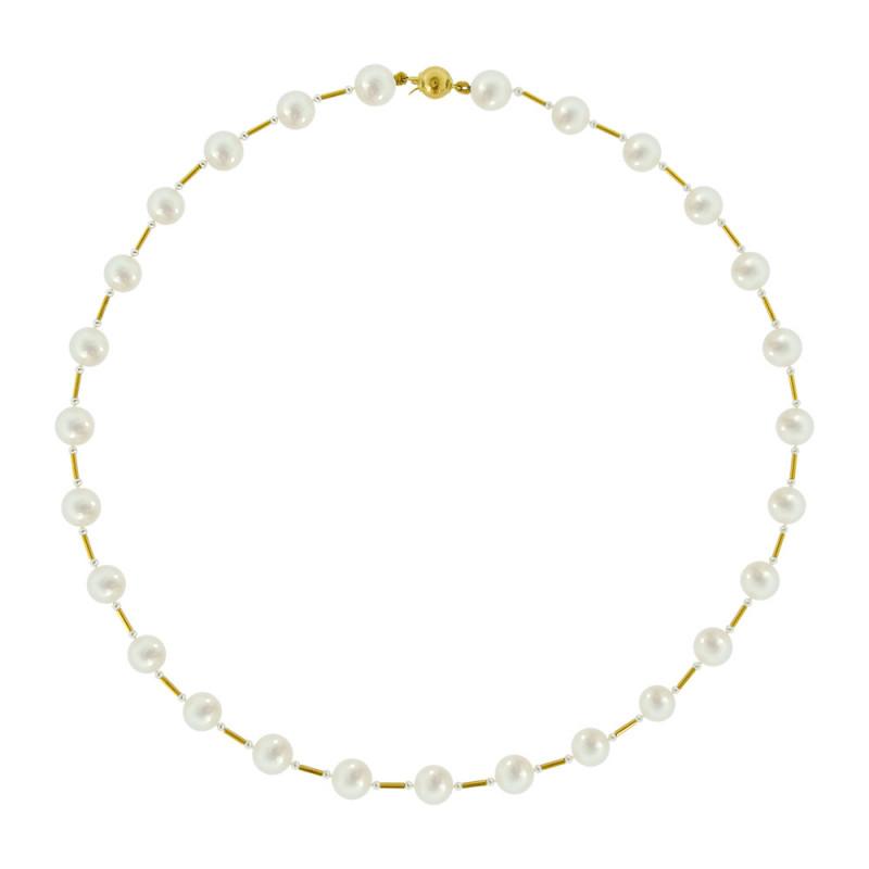 Κολιέ με λευκά μαργαριτάρια και χρυσά στοιχεία Κ22 - M319915