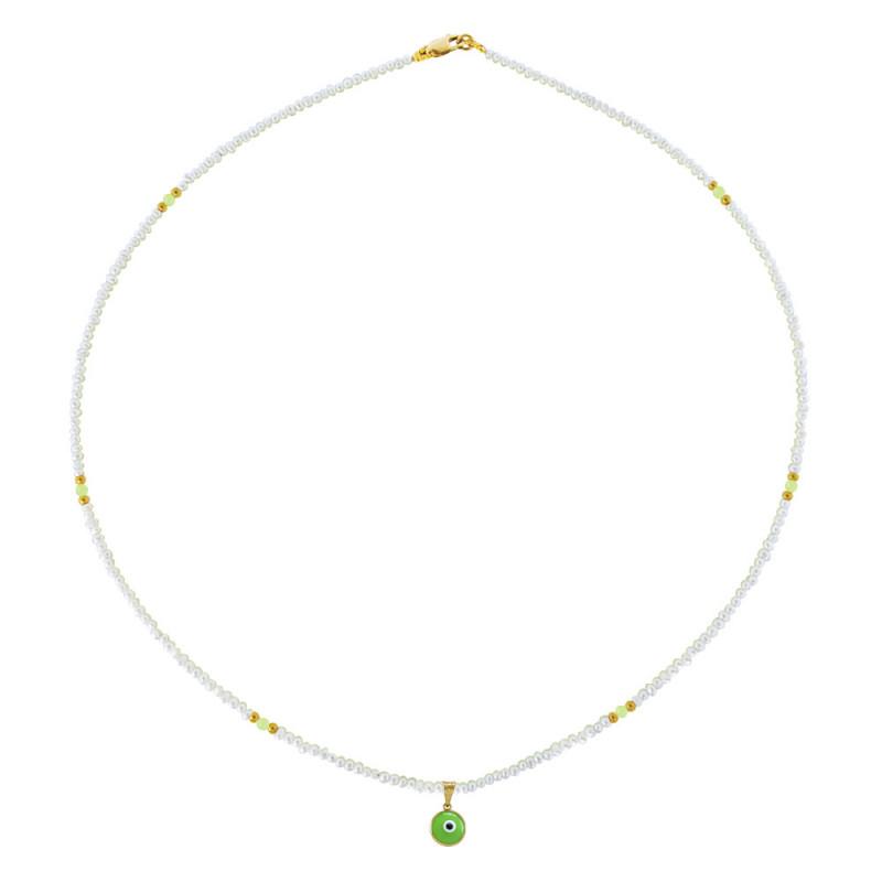 Κολιέ με λευκά μαργαριτάρια, περίδοτο και χρυσά στοιχεία 14K - M320011G