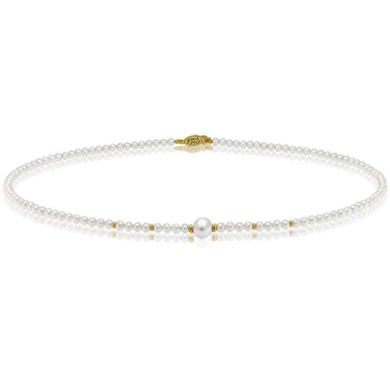Κολιέ με λευκά μαργαριτάρια και χρυσά στοιχεία 14K - M417009