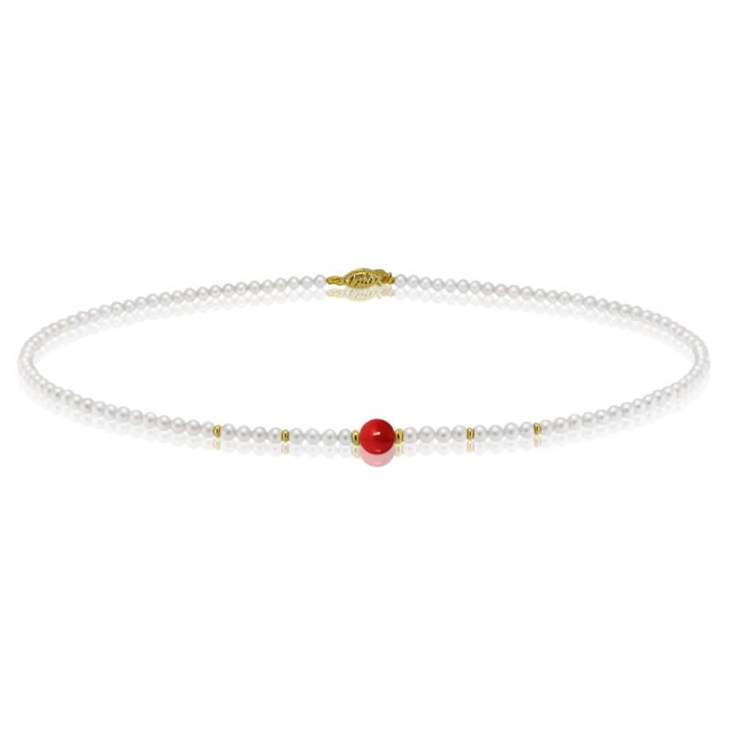 Κολιέ με λευκά μαργαριτάρια, κοράλλι και χρυσά στοιχεία 14K - M417009C
