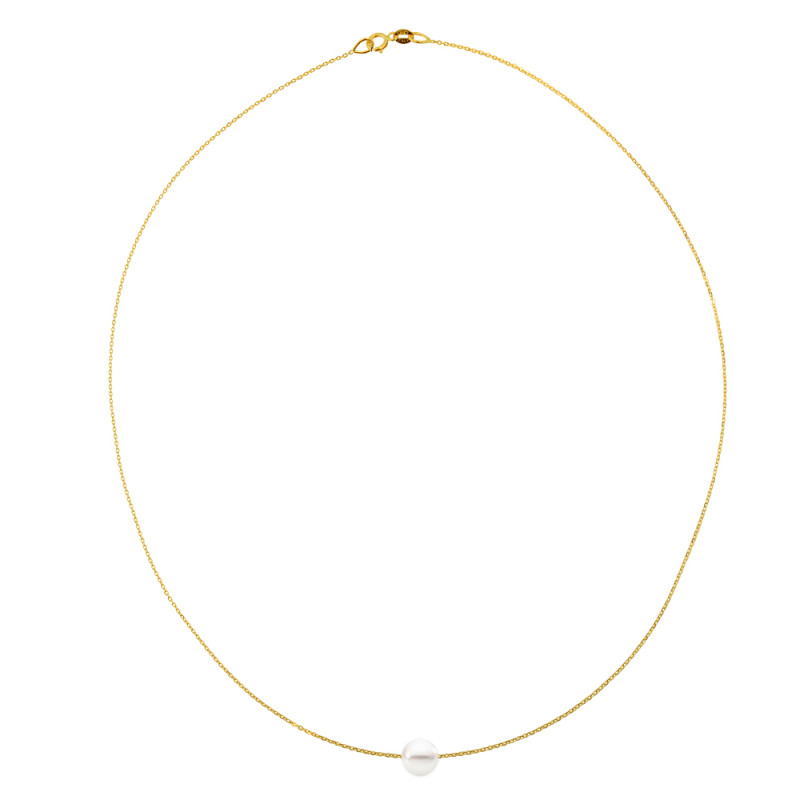 Κολιέ με μαργαριτάρι σε χρυσή αλυσίδα Κ14 - M123421
