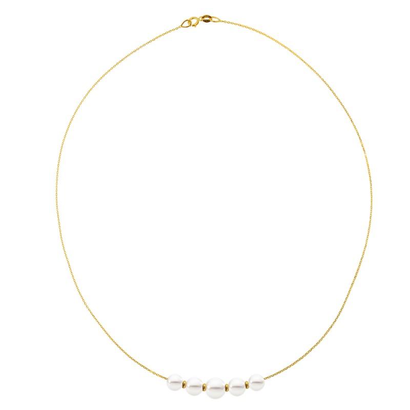 Κολιέ με μαργαριτάρια σε χρυσή αλυσίδα Κ14 - M981028