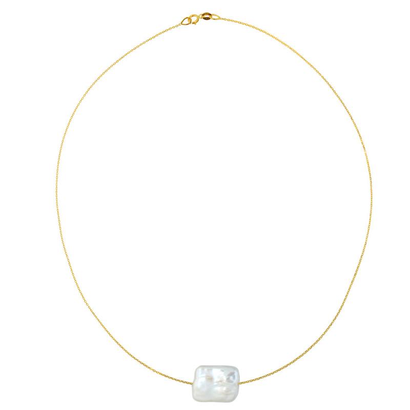 Κολιέ με μαργαριτάρι σε χρυσή αλυσίδα Κ14 - M981029