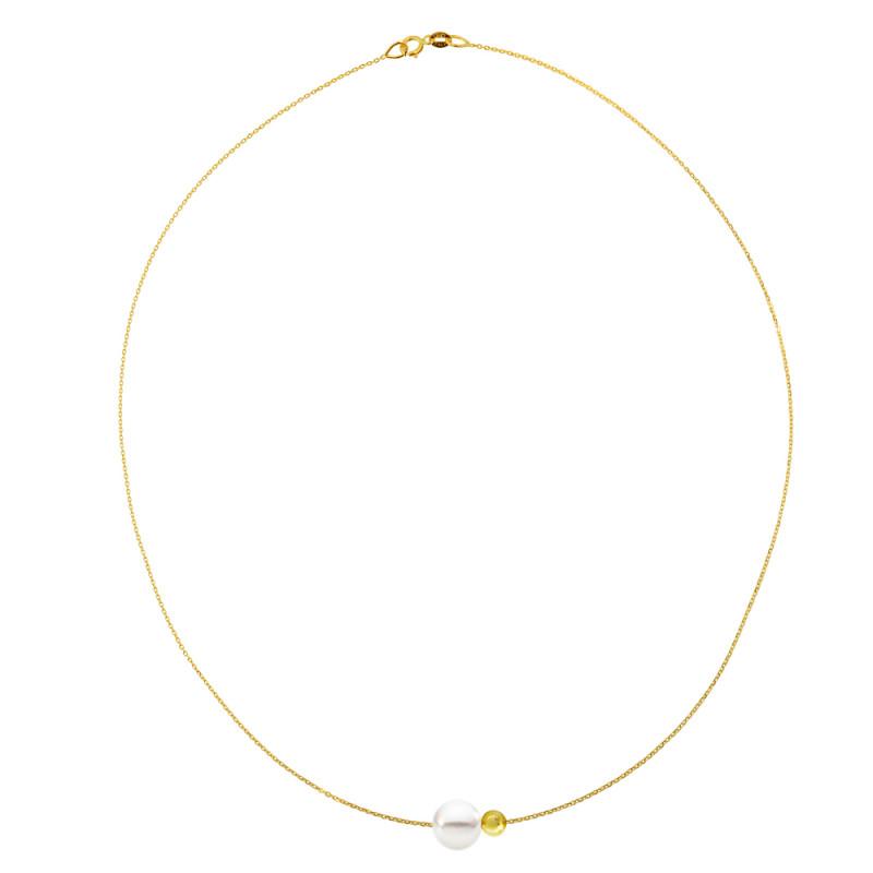 Κολιέ με μαργαριτάρι σε χρυσή αλυσίδα Κ14 - M981031