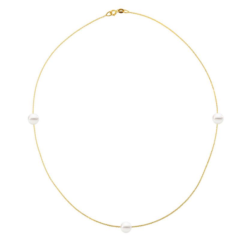Κολιέ με μαργαριτάρια σε χρυσή αλυσίδα Κ14 - M981034