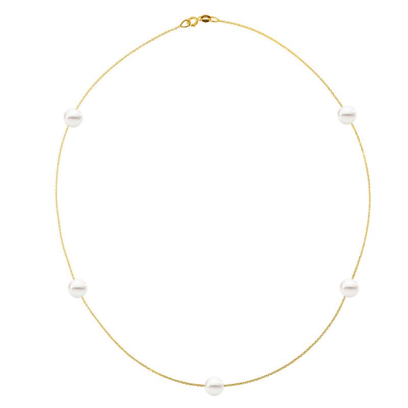 Κολιέ με μαργαριτάρια σε χρυσή αλυσίδα Κ14 - M981035