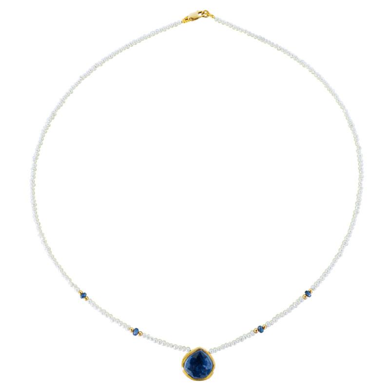 Κολιέ με λευκά μαργαριτάρια, ζαφείρια και χρυσό κούμπωμα 14K - M121221S