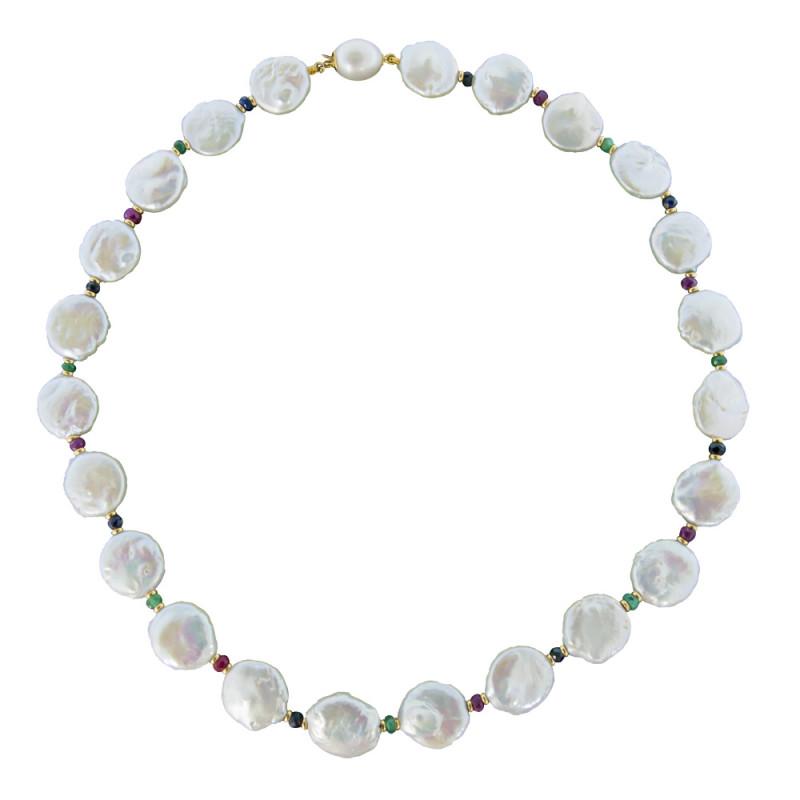 Κολιέ με λευκά μαργαριτάρια, σμαράγδια, ρουμπίνια, ζαφείρια και χρυσά στοιχεία 18K - M121264