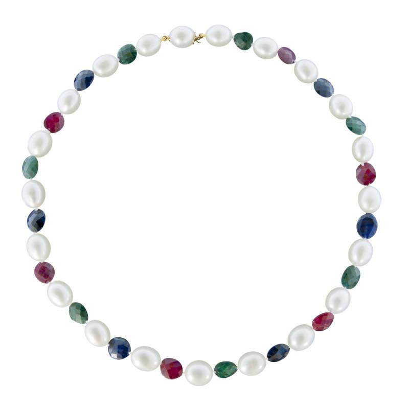 Κολιέ με λευκά μαργαριτάρια, ρουμπίνια, σμαράγδια, ζαφείρια και χρυσά στοιχεία 18K - M121699