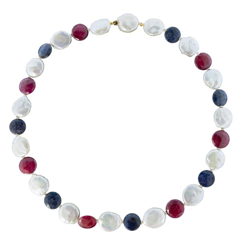 Κολιέ με λευκά μαργαριτάρια, ρουμπίνια, ζαφείρια και χρυσό κούμπωμα K18 - M122036