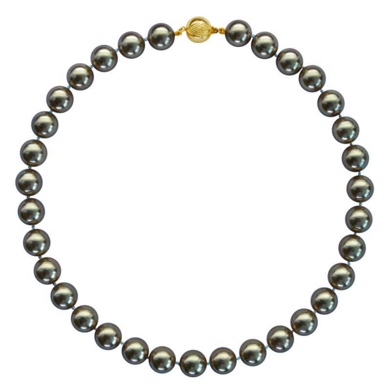 Κολιέ με Shell Pearl 12mm και ασημένιο κούμπωμα 925 - M118876B