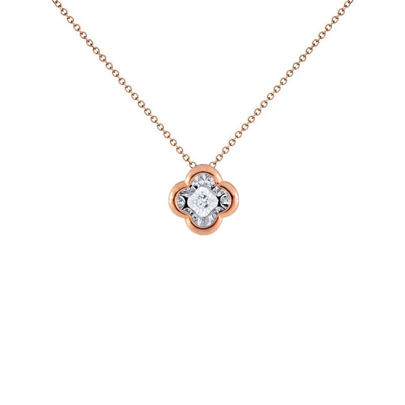 Μενταγιόν με διαμάντι σε ροζ χρυσό Κ18 - G123502