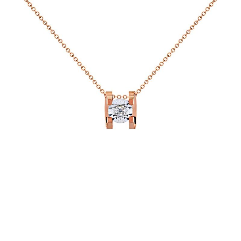 Μενταγιόν με διαμάντι σε ροζ χρυσό Κ18 - G123503
