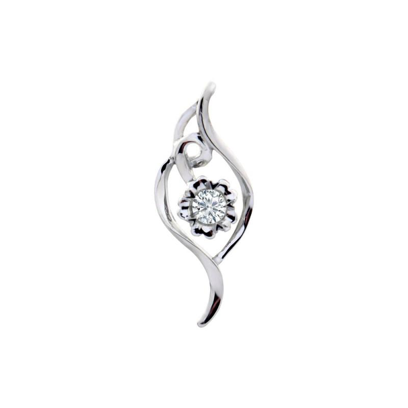 Μενταγιόν με διαμάντι σε λευκόχρυση βάση Κ18 - M718027