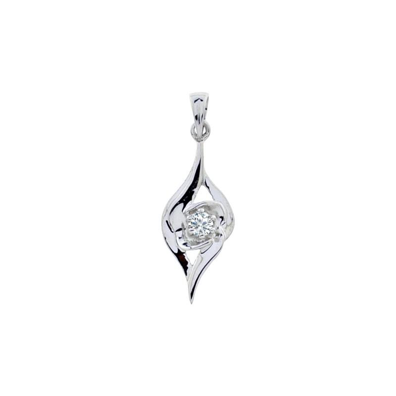 Μενταγιόν με διαμάντι σε λευκόχρυση βάση Κ18 - M718028