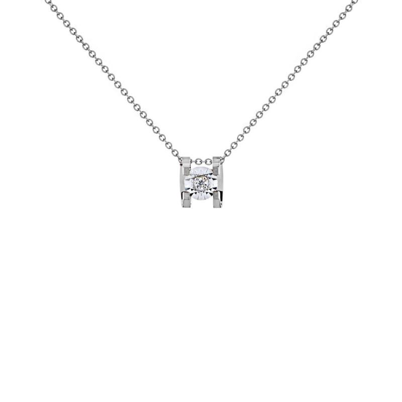 Μενταγιόν με διαμάντι σε λευκόχρυσο Κ18 - W123503