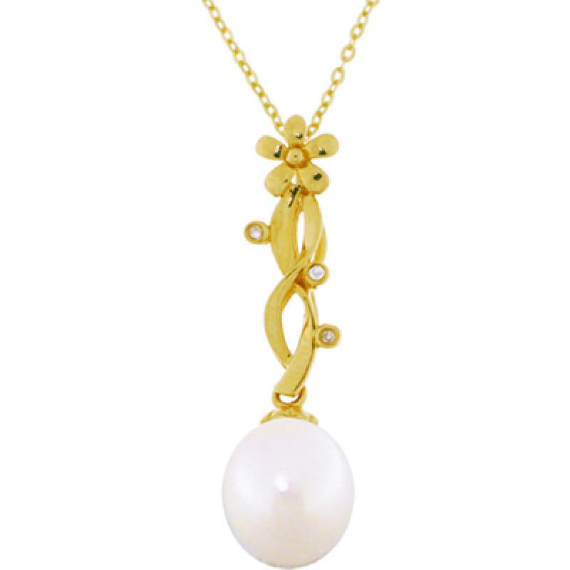 Μενταγιόν με λευκό μαργαριτάρι και διαμάντια σε χρυσή αλυσίδα 18 καρατίων - Μ315819